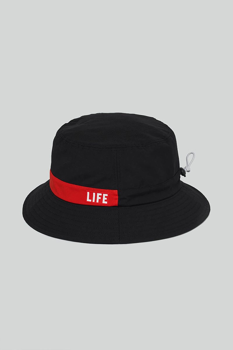LIFE STRING BUCKET HAT_BLACK