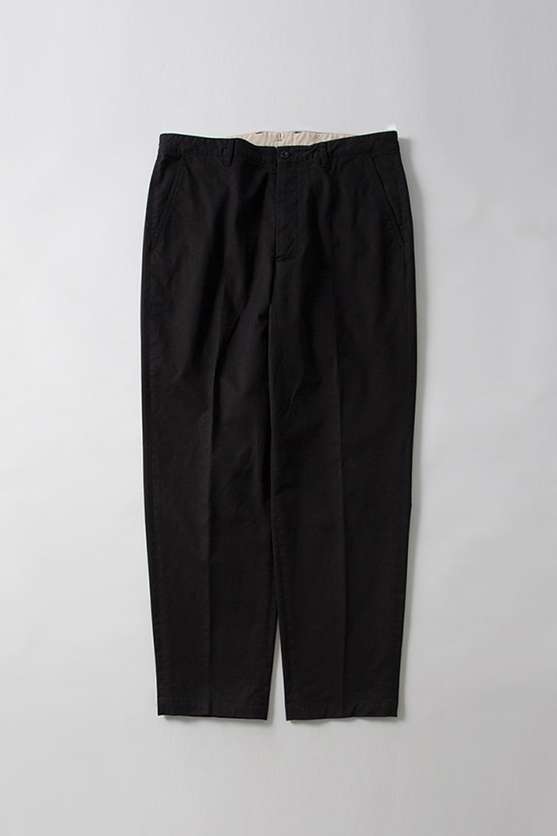 Washed Tapered Pants Black Organic Cotton