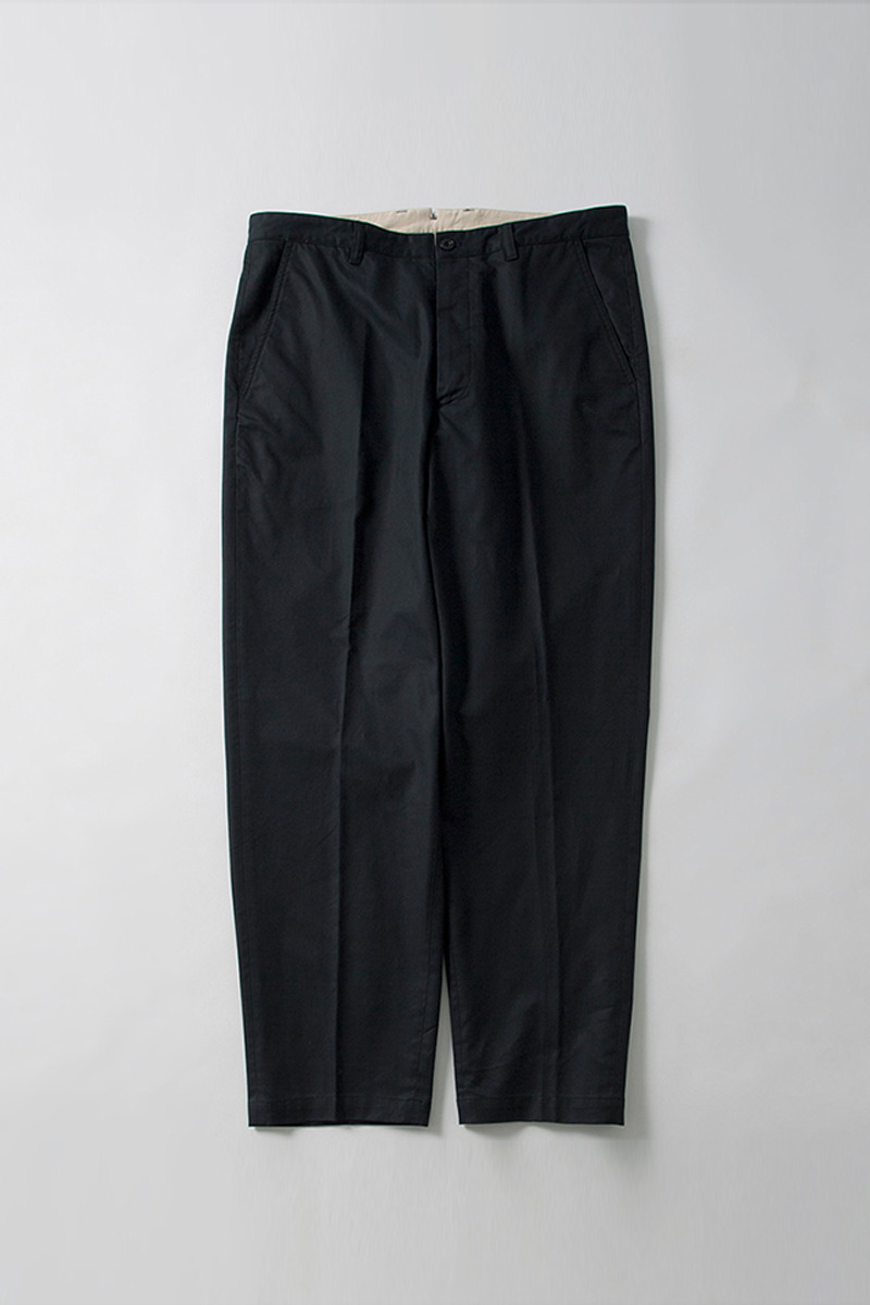 Washed Tapered Pants Navy Organic Cotton