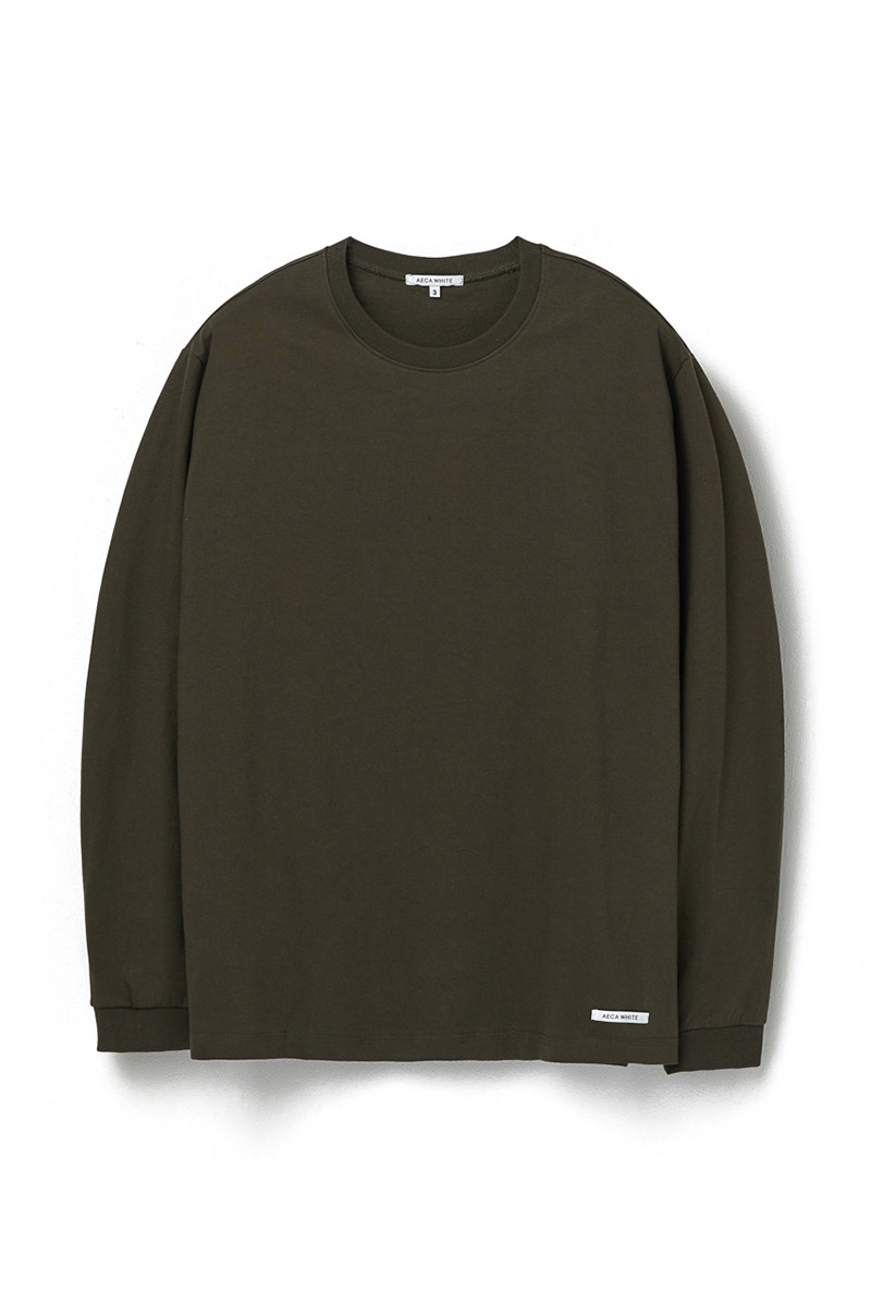 FINEST COTTON LONG SLEEVE TEE OLIVE