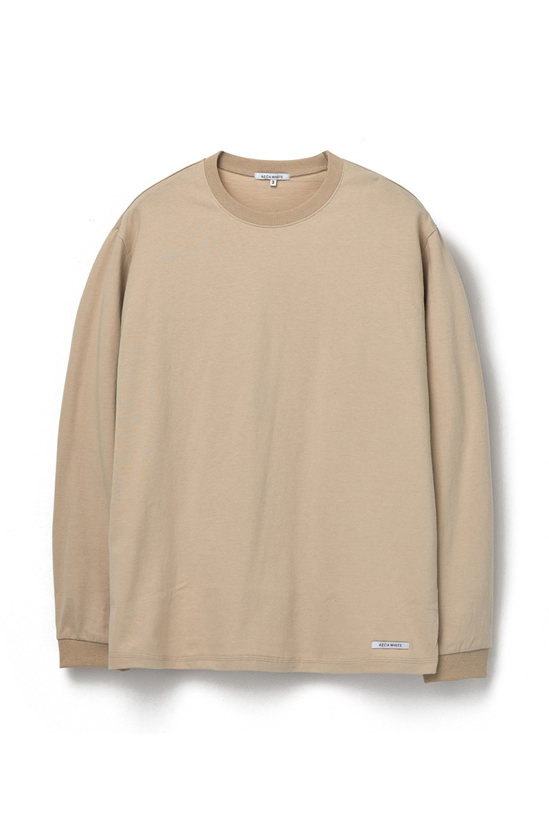 FINEST COTTON LONG SLEEVE TEE BEIGE