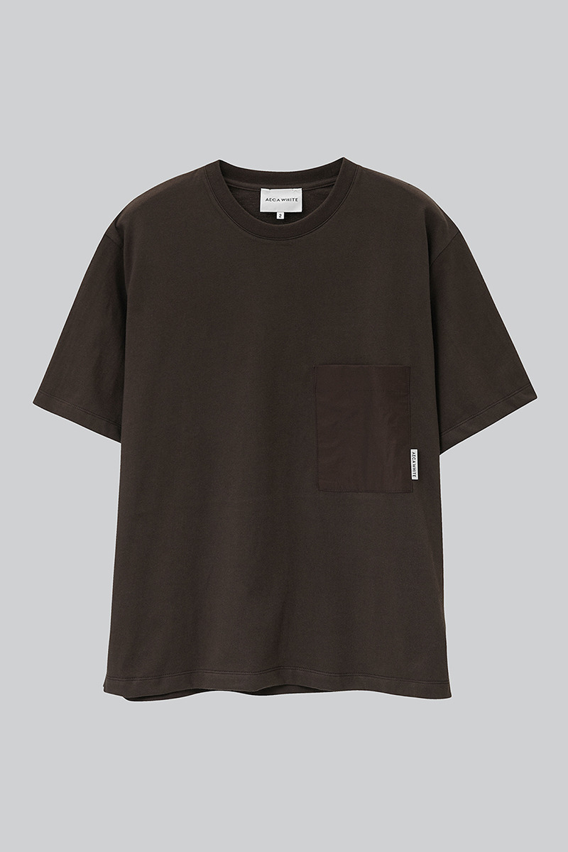 OVERSIZE BIG POCKET TEE BROWN