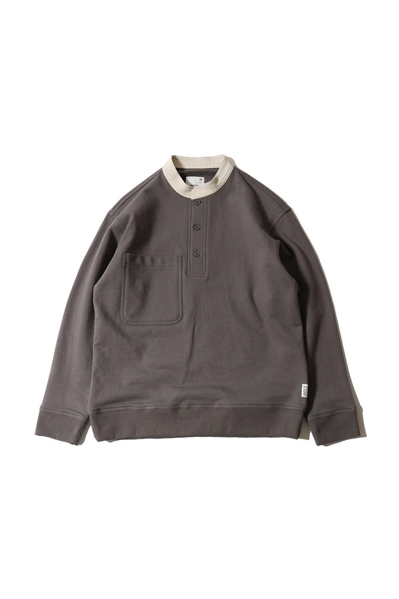20SS Forest Cotton Collar Button Pullover Charcoal
